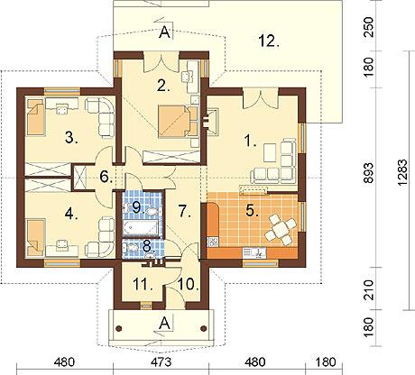 Projekt domu DM-6141 - rzut