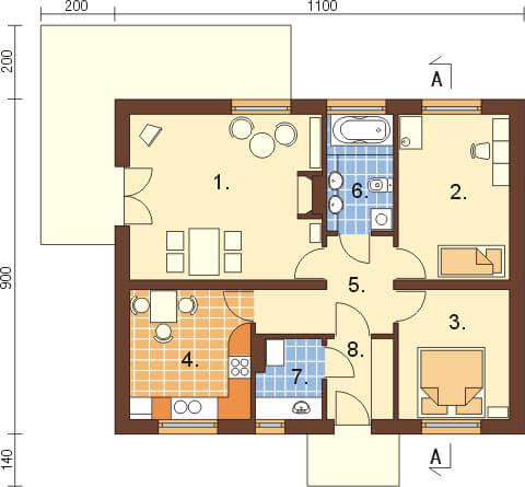 Projekt domu DM-6299. - rzut