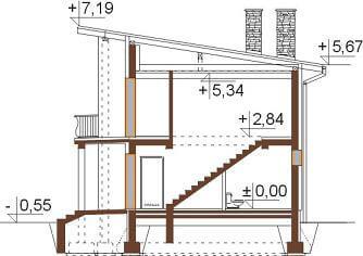 Projekt domu L-6488 - przekrój