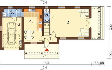 Projekt domu L-6488 - rzut