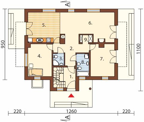 Projekt domu DM-6489 - rzut