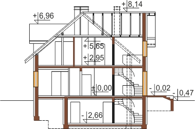 Projekt domu L-6489 - przekrój