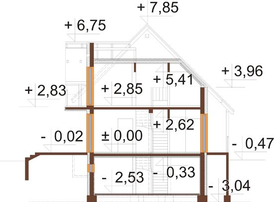 Projekt domu DM-6190 B - przekrój