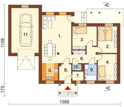 Projekt domu DM-5538 - rzut