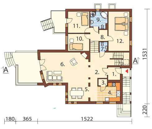 Projekt domu DM-6158 - rzut