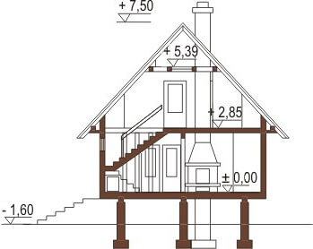 Projekt domu L-6082 - przekrój