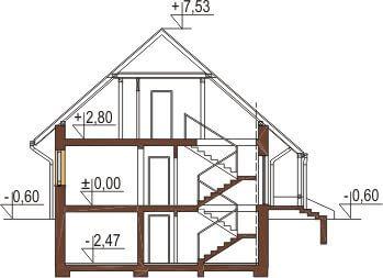 Projekt domu DM-6164 - przekrój