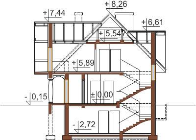 Projekt domu DM-6350 B - przekrój