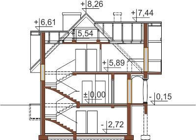 Projekt domu L-6350 B - przekrój