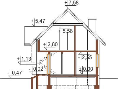 Projekt domu DM-6251 B - przekrój