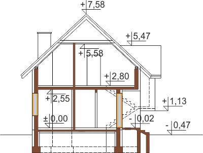 Projekt domu L-6251 B - przekrój