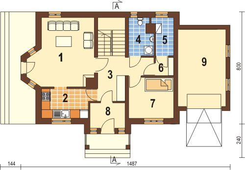 Projekt domu DM-6168 - rzut