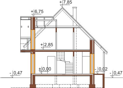 Projekt domu DM-6190 D - przekrój