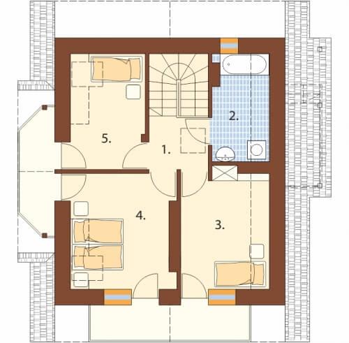Projekt domu DM-6190 D - rzut