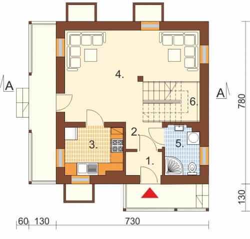 Projekt domu DM-6223 B - rzut