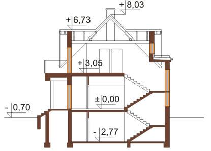 Projekt domu DM-6170 - przekrój
