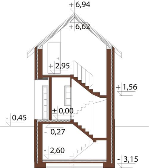 Projekt domu DM-6172 - przekrój