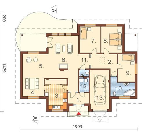 Projekt domu DM-6176 - rzut