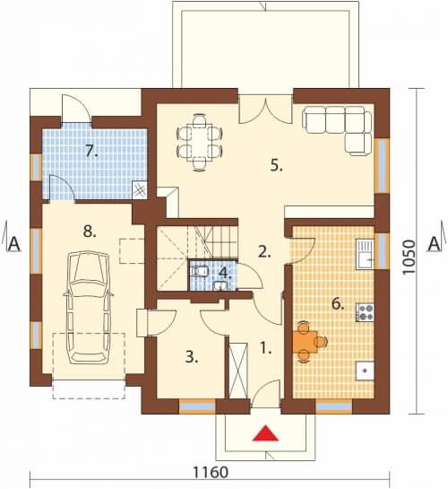 Projekt domu DM-6499 - rzut