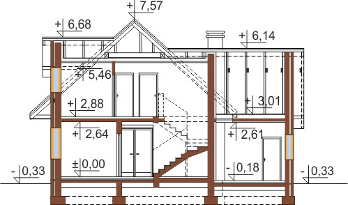 Projekt domu L-6499 - przekrój