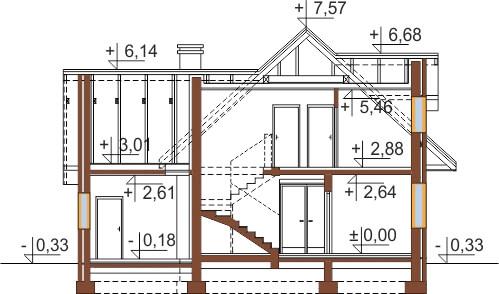 Projekt domu DM-6499 G - przekrój