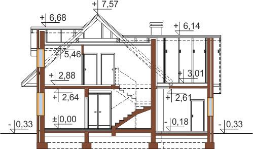 Projekt domu L-6499 G - przekrój