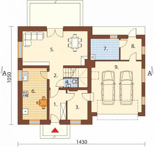 Projekt domu L-6499 G - rzut