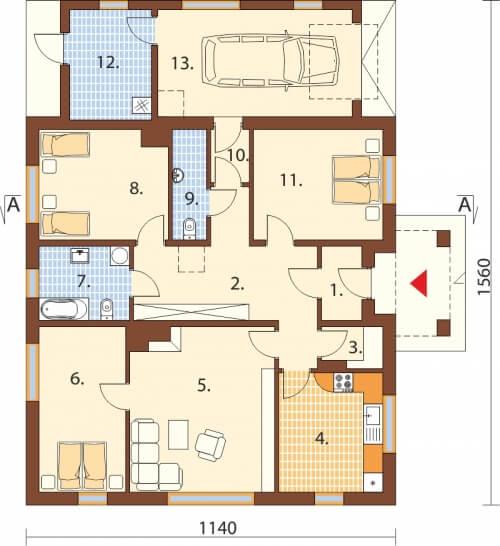 Projekt domu DM-6503 C - rzut