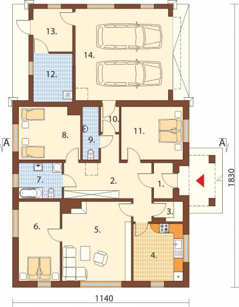 Projekt domu DM-6503 G - rzut