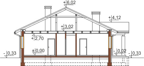 Projekt domu L-6503 G - przekrój