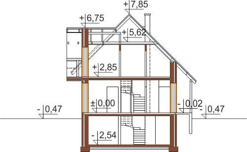 Projekt domu DM-6190 G - przekrój