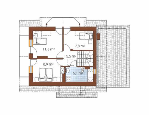 Projekt domu DM-6190 C - rzut