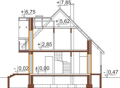 Projekt domu DM-6190 C - przekrój