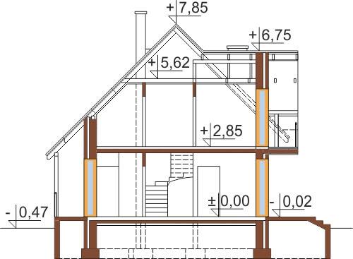 Projekt domu L-6190 C - przekrój