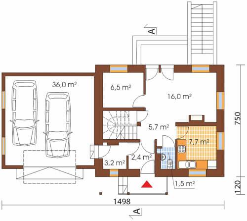 Projekt domu L-6190 G - rzut