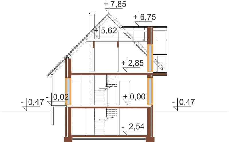 Projekt domu L-6190 G - przekrój