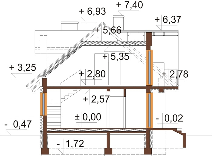 Projekt domu DM-6256 C - przekrój