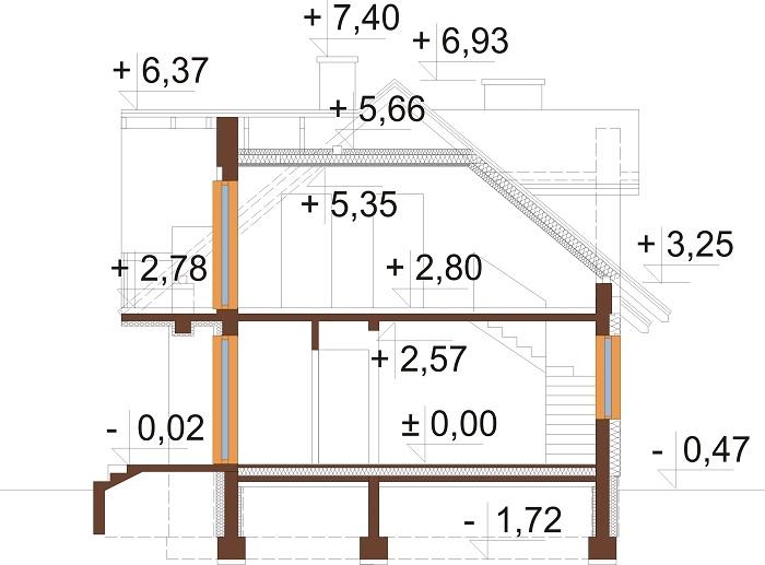 Projekt domu L-6256 C - przekrój
