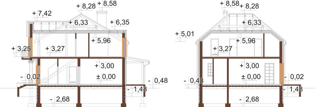 Projekt domu L-6501 - przekrój