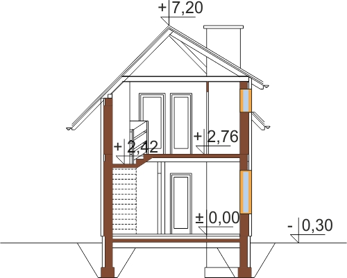 Projekt domu DM-5588 C - przekrój