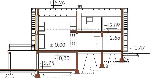 Projekt domu L-6497 - przekrój