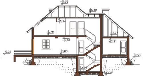 Projekt domu DM-6426 B - przekrój
