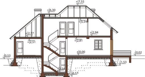 Projekt domu L-6426 B - przekrój