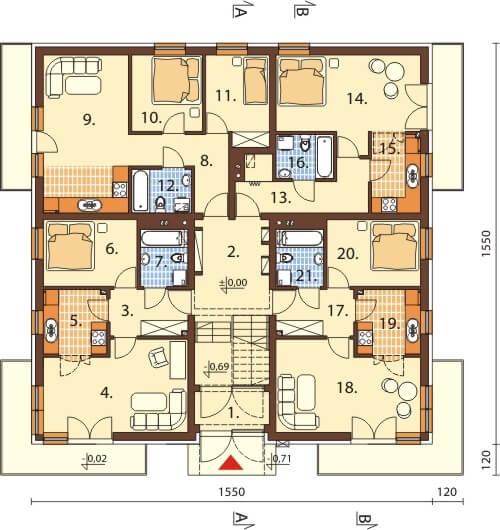 Projekt domu DM-6496 - rzut