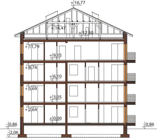 Projekt domu DM-6496 - przekrój