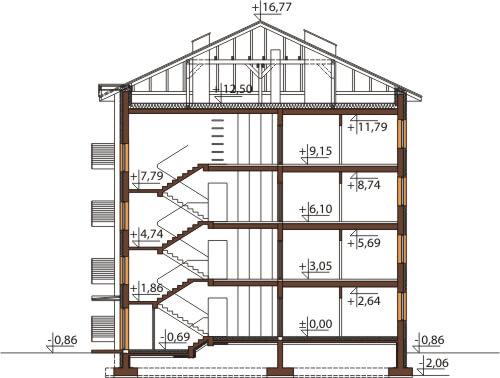 Projekt domu L-6496 - przekrój