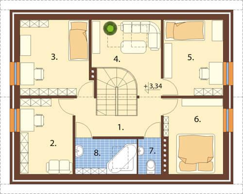 Projekt domu DM-6068 - rzut