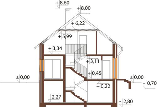 Projekt domu L-6068 - przekrój