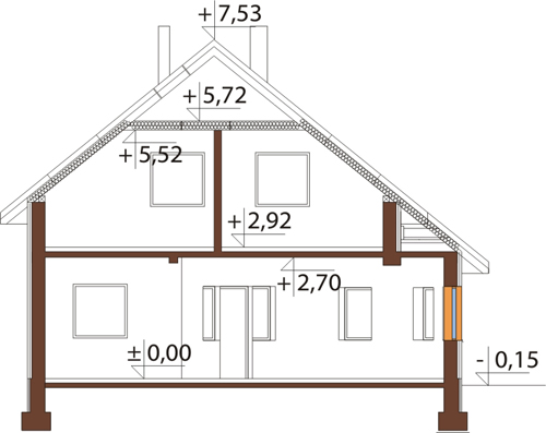 Projekt domu DM-6140 - przekrój