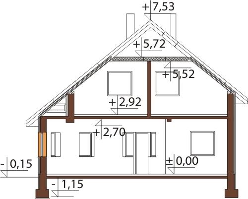 Projekt domu L-6140 - przekrój